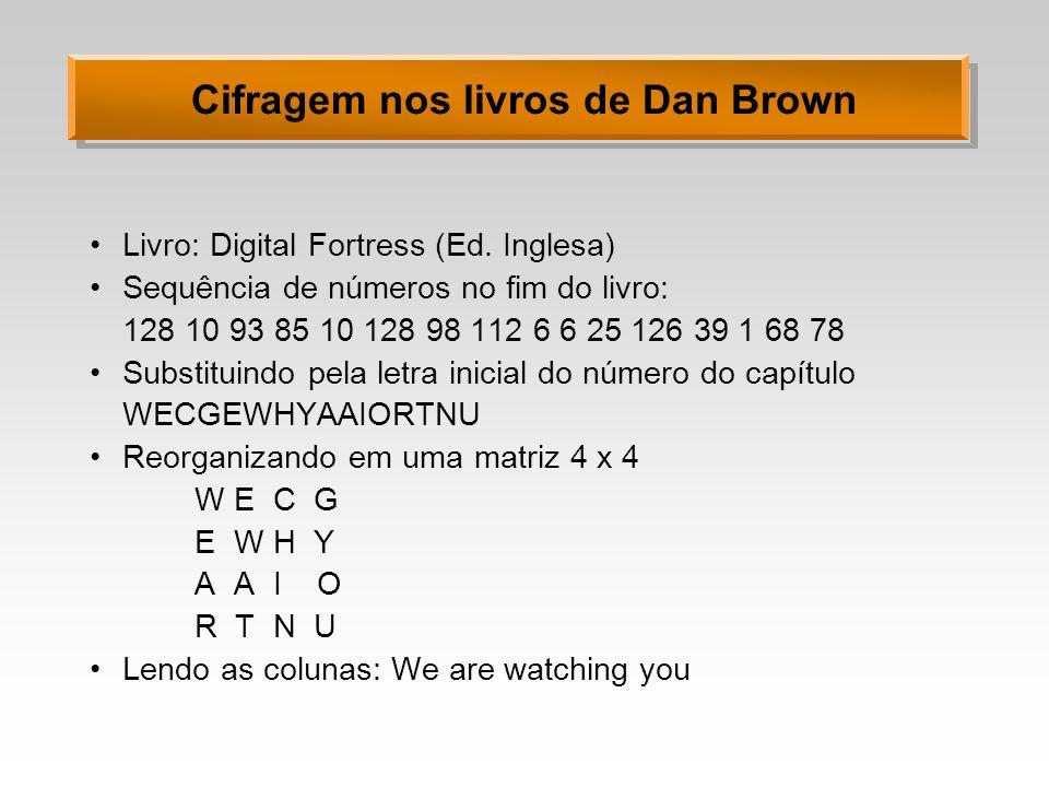 Cifragem nos livros de Dan Brown Livro: Digital Fortress (Ed. Inglesa) Sequência de números no fim do livro: 128 10 93 85 10 128 98 112 6 6 25 126 39