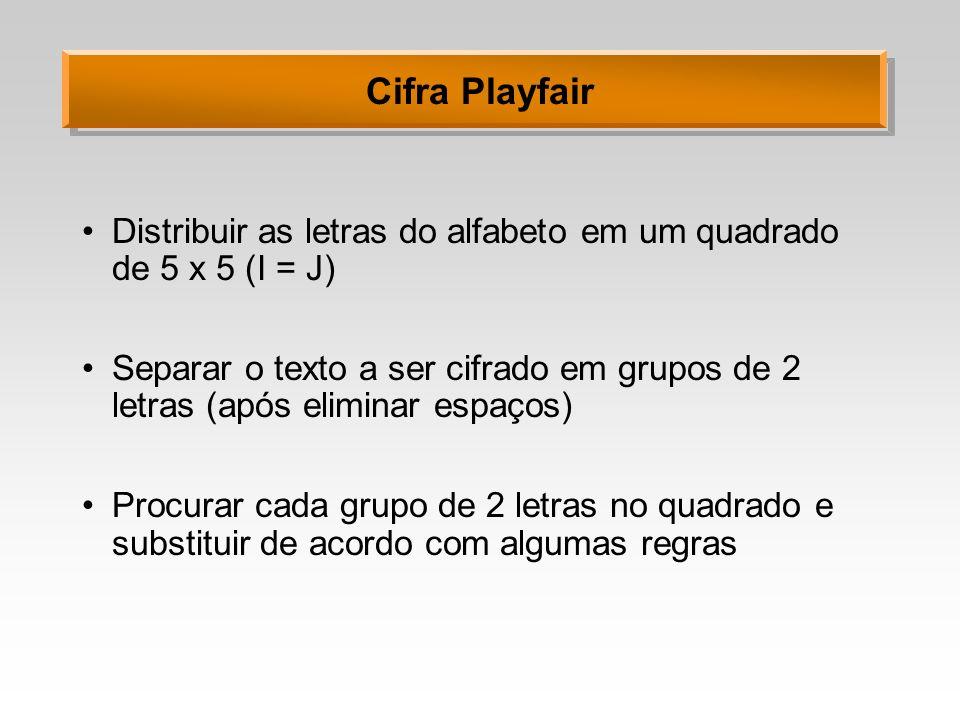 Cifra Playfair Distribuir as letras do alfabeto em um quadrado de 5 x 5 (I = J) Separar o texto a ser cifrado em grupos de 2 letras (após eliminar esp