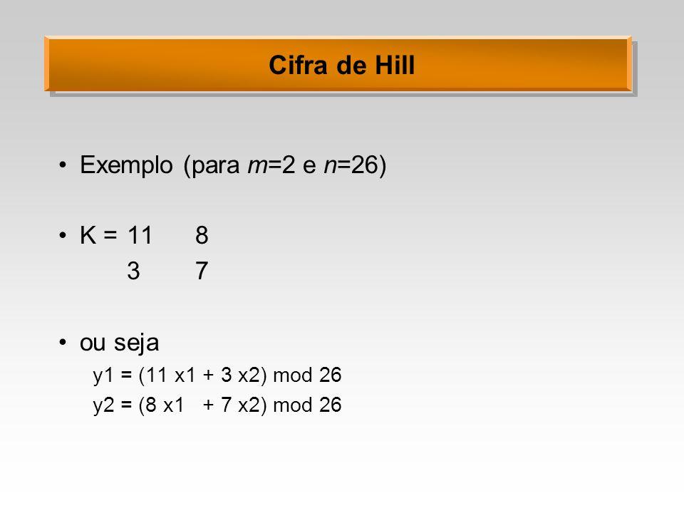 Cifra de Hill Exemplo (para m=2 e n=26) K = 118 37 ou seja y1 = (11 x1 + 3 x2) mod 26 y2 = (8 x1 + 7 x2) mod 26