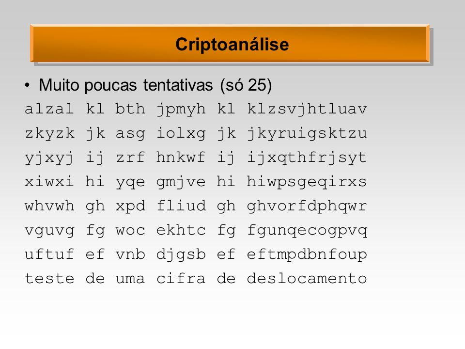 Cifra de Hill Idéia: operar sobre m caracteres do texto normal para produzir m caracteres no texto cifrado A chave K é uma matriz quadrada (m,m) Para decifrar, usa-se a matriz inversa K -1 Toda a aritmética é em módulo n (a quantidade de símbolos do alfabeto) Para matriz inversa existir: mdc(det K, n) = 1