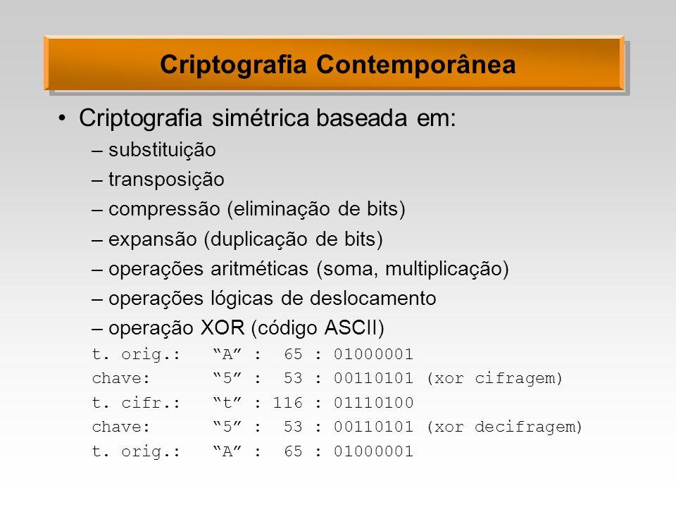 Criptografia Contemporânea Criptografia simétrica baseada em: –substituição –transposição –compressão (eliminação de bits) –expansão (duplicação de bi