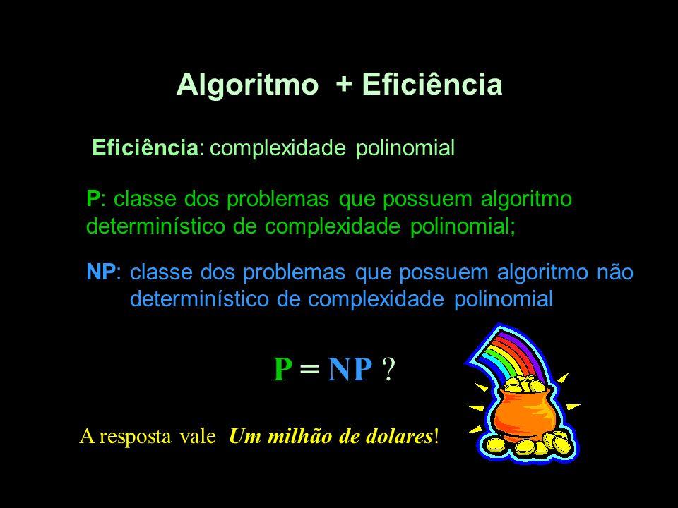 Algoritmo + Eficiência Eficiência: complexidade polinomial P: classe dos problemas que possuem algoritmo determinístico de complexidade polinomial; NP