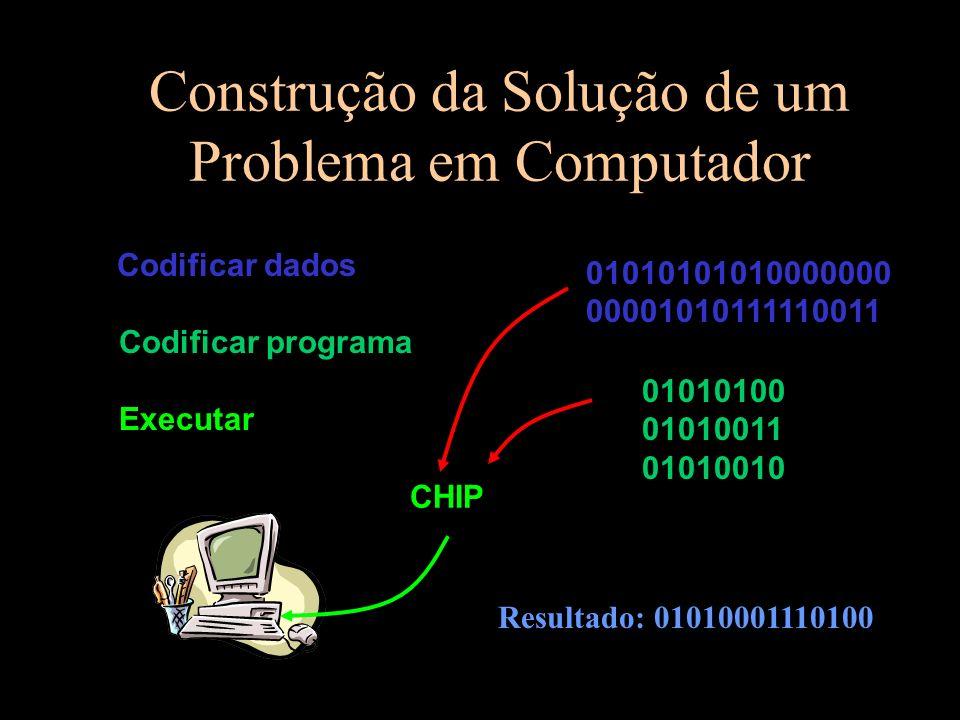 Construção da Solução de um Problema em Computador Codificar dados Codificar programa Executar 01010101010000000 00001010111110011 01010100 01010011 01010010....