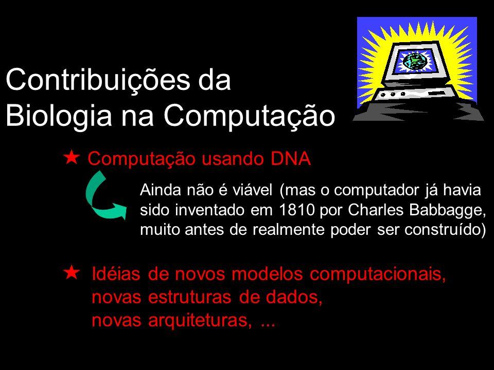 Contribuições da Biologia na Computação Computação usando DNA Ainda não é viável (mas o computador já havia sido inventado em 1810 por Charles Babbagge, muito antes de realmente poder ser construído) Idéias de novos modelos computacionais, novas estruturas de dados, novas arquiteturas,...