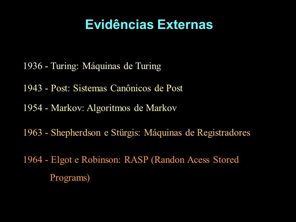 Evidências Externas 1936 - Turing: Máquinas de Turing 1943 - Post: Sistemas Canônicos de Post 1954 - Markov: Algoritmos de Markov 1963 - Shepherdson e