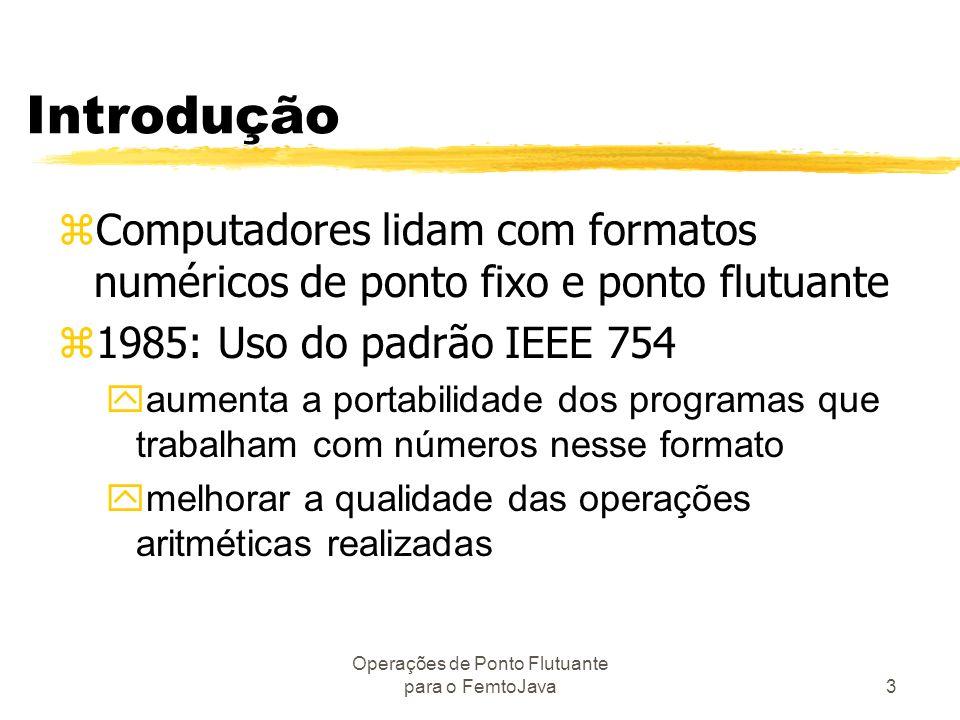 Operações de Ponto Flutuante para o FemtoJava3 Introdução zComputadores lidam com formatos numéricos de ponto fixo e ponto flutuante z1985: Uso do pad