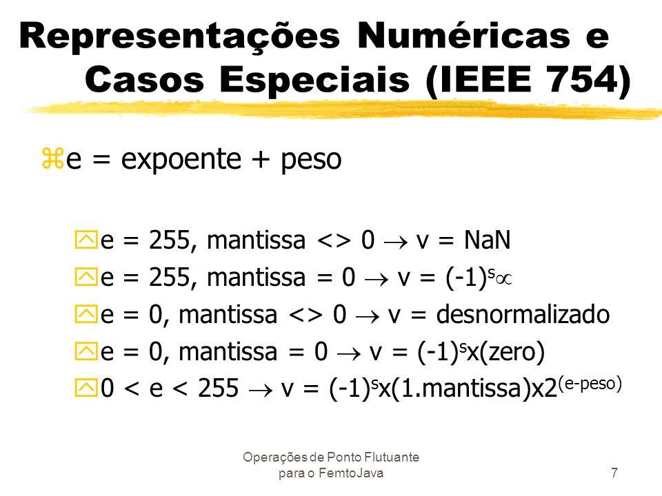 Operações de Ponto Flutuante para o FemtoJava7 Representações Numéricas e Casos Especiais (IEEE 754) ze = expoente + peso ye = 255, mantissa <> 0 v =