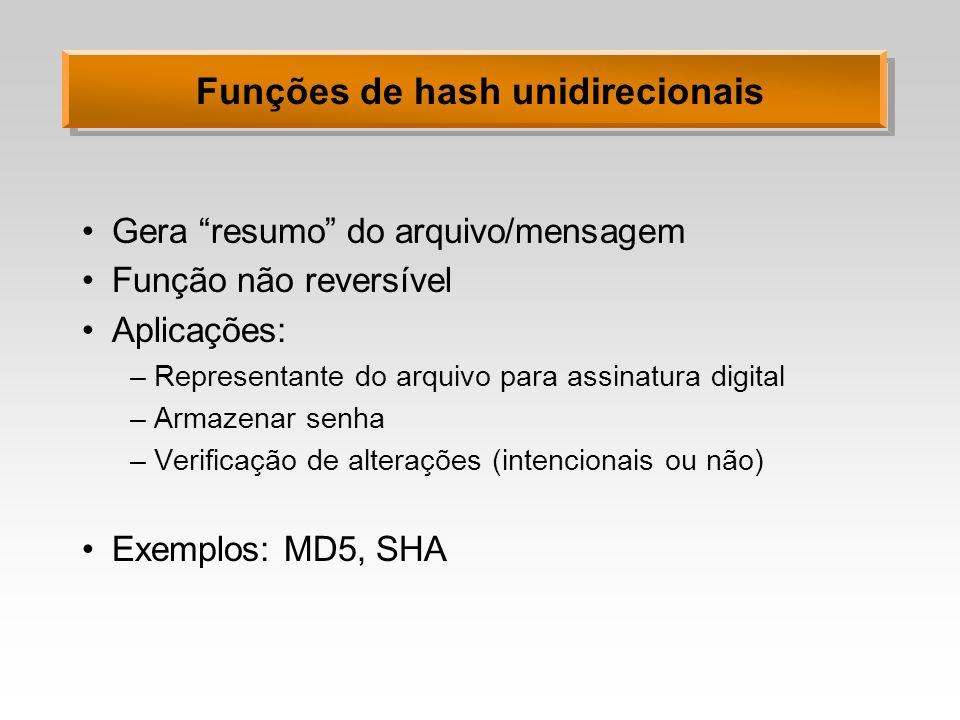 Funções de hash unidirecionais Gera resumo do arquivo/mensagem Função não reversível Aplicações: –Representante do arquivo para assinatura digital –Ar