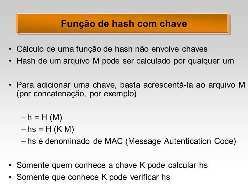 Função de hash com chave Cálculo de uma função de hash não envolve chaves Hash de um arquivo M pode ser calculado por qualquer um Para adicionar uma c