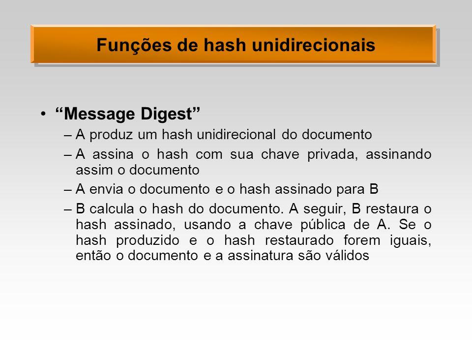 Funções de hash unidirecionais Message Digest –A produz um hash unidirecional do documento –A assina o hash com sua chave privada, assinando assim o d