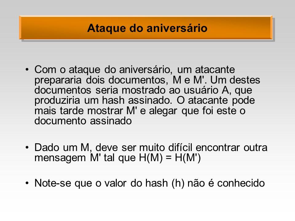 Ataque do aniversário Com o ataque do aniversário, um atacante prepararia dois documentos, M e M'. Um destes documentos seria mostrado ao usuário A, q