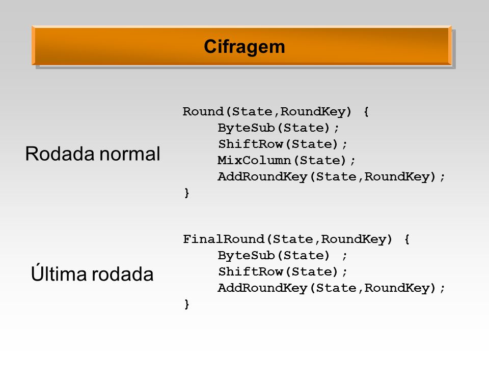 Round(State,RoundKey) { ByteSub(State); ShiftRow(State); MixColumn(State); AddRoundKey(State,RoundKey); } Rodada normal Última rodada FinalRound(State