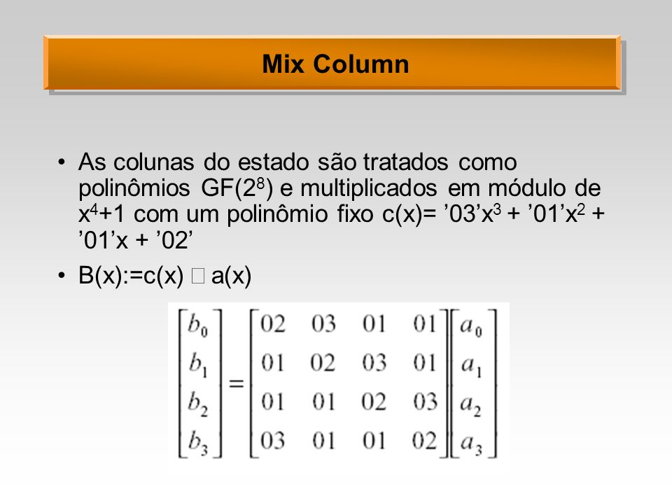 Mix Column As colunas do estado são tratados como polinômios GF(2 8 ) e multiplicados em módulo de x 4 +1 com um polinômio fixo c(x)= 03x 3 + 01x 2 +