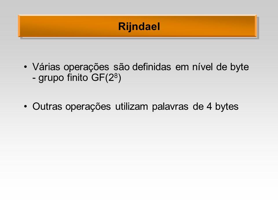 Rijndael Várias operações são definidas em nível de byte - grupo finito GF(2 8 ) Outras operações utilizam palavras de 4 bytes
