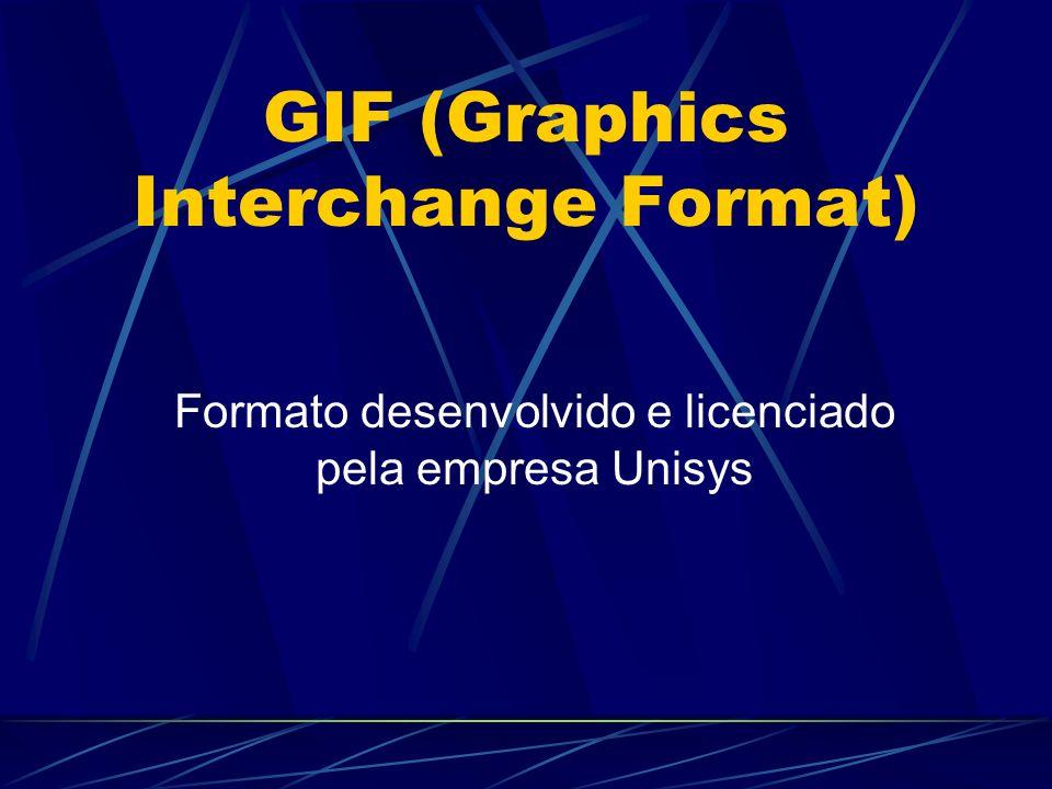 GIF (Graphics Interchange Format) Formato desenvolvido e licenciado pela empresa Unisys