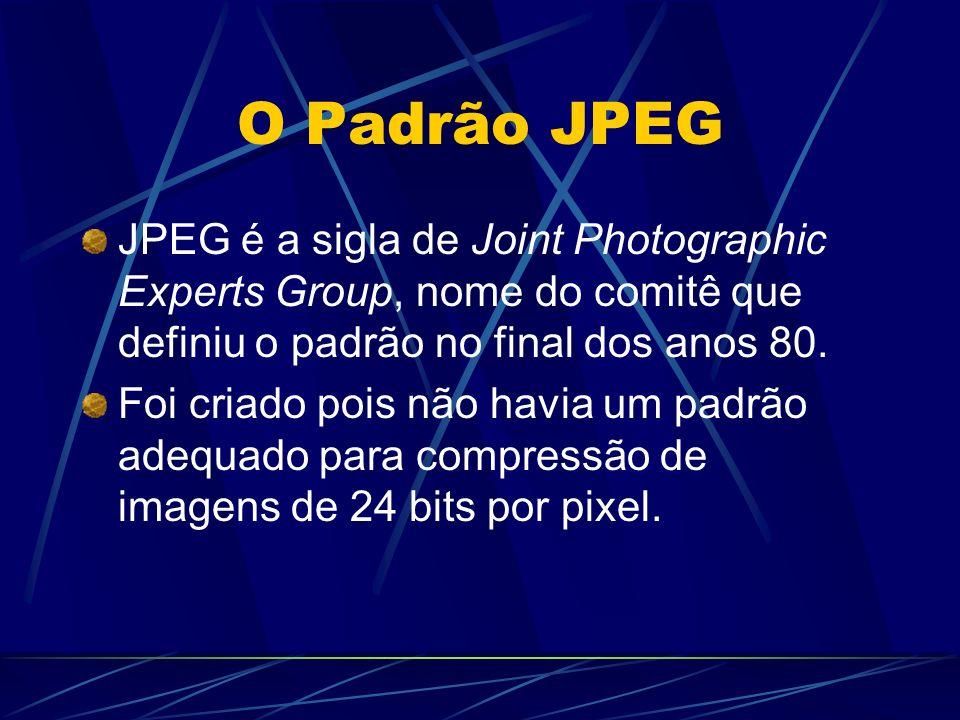 O Padrão JPEG JPEG é a sigla de Joint Photographic Experts Group, nome do comitê que definiu o padrão no final dos anos 80. Foi criado pois não havia