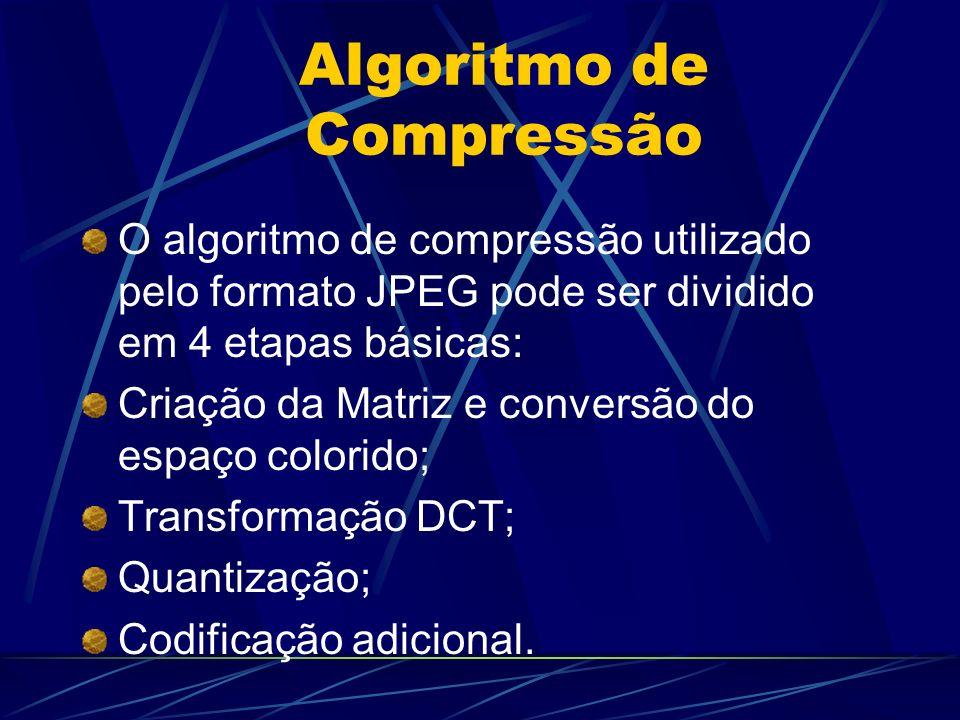 Algoritmo de Compressão O algoritmo de compressão utilizado pelo formato JPEG pode ser dividido em 4 etapas básicas: Criação da Matriz e conversão do