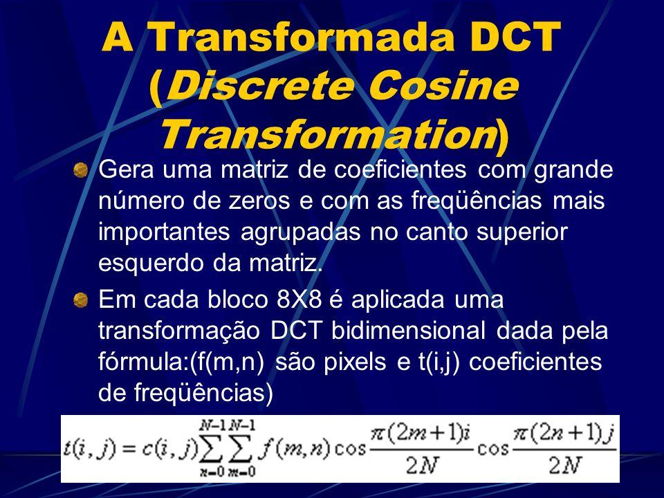 A Transformada DCT (Discrete Cosine Transformation) Gera uma matriz de coeficientes com grande número de zeros e com as freqüências mais importantes a