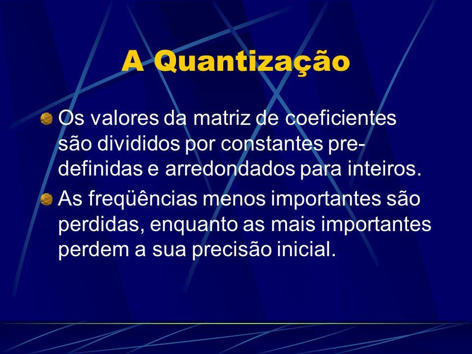A Quantização Os valores da matriz de coeficientes são divididos por constantes pre- definidas e arredondados para inteiros. As freqüências menos impo