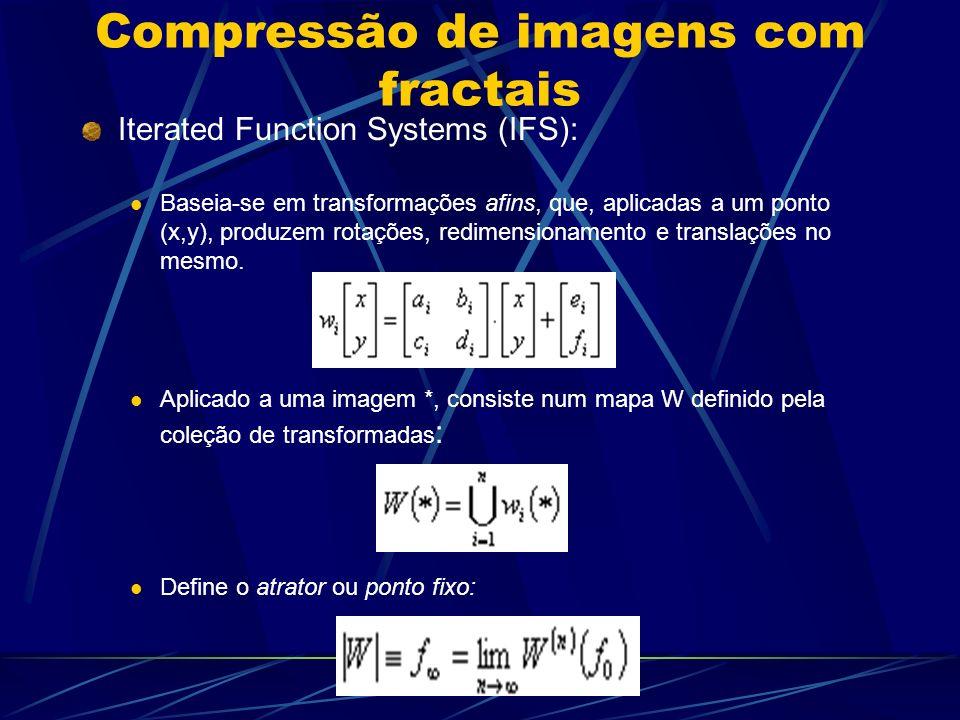 Compressão de imagens com fractais Iterated Function Systems (IFS): Baseia-se em transformações afins, que, aplicadas a um ponto (x,y), produzem rotaç