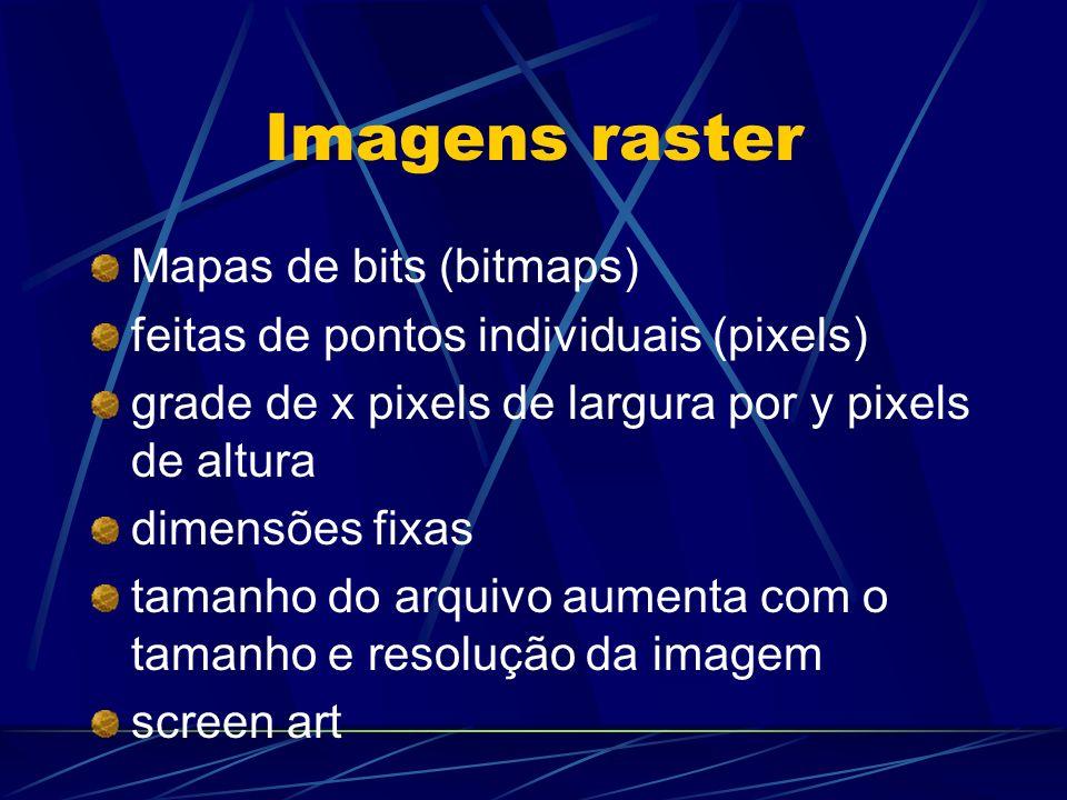 Imagens raster Mapas de bits (bitmaps) feitas de pontos individuais (pixels) grade de x pixels de largura por y pixels de altura dimensões fixas taman