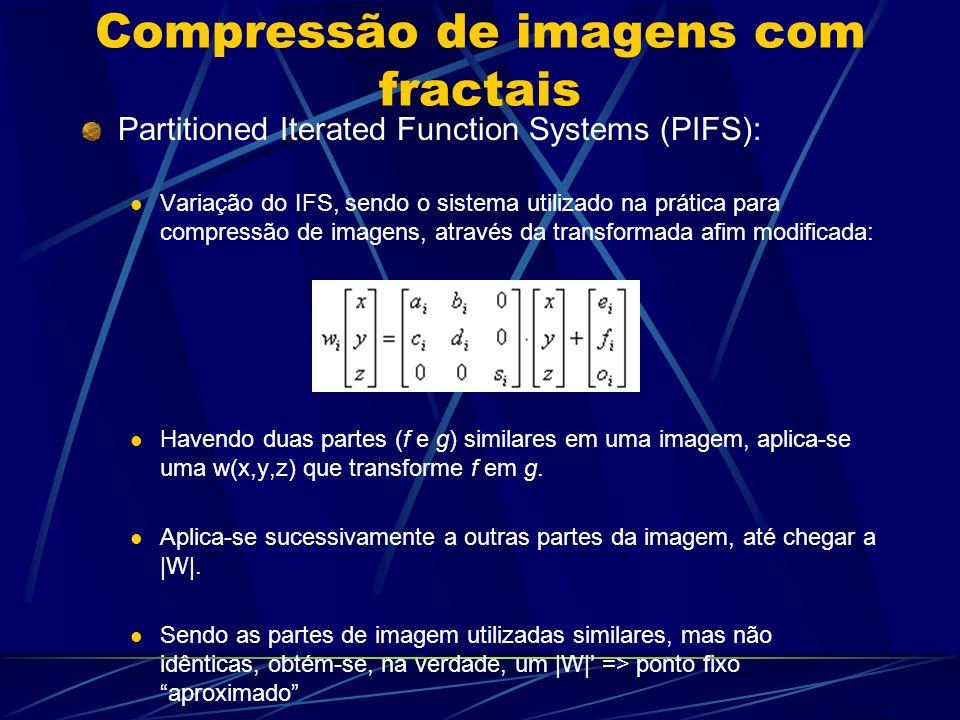 Compressão de imagens com fractais Partitioned Iterated Function Systems (PIFS): Variação do IFS, sendo o sistema utilizado na prática para compressão