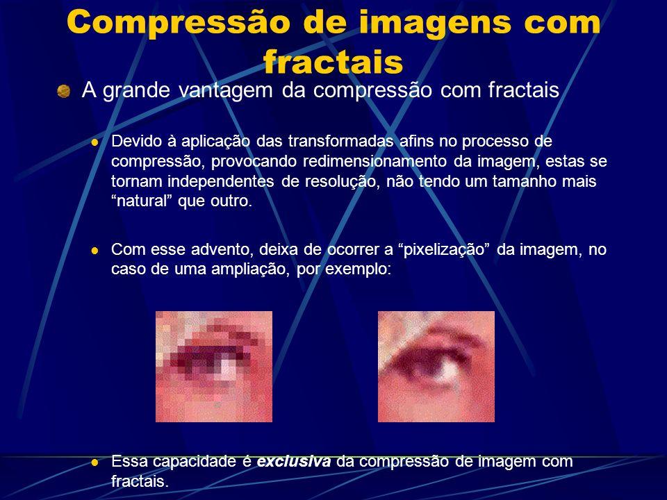 Compressão de imagens com fractais A grande vantagem da compressão com fractais Devido à aplicação das transformadas afins no processo de compressão,