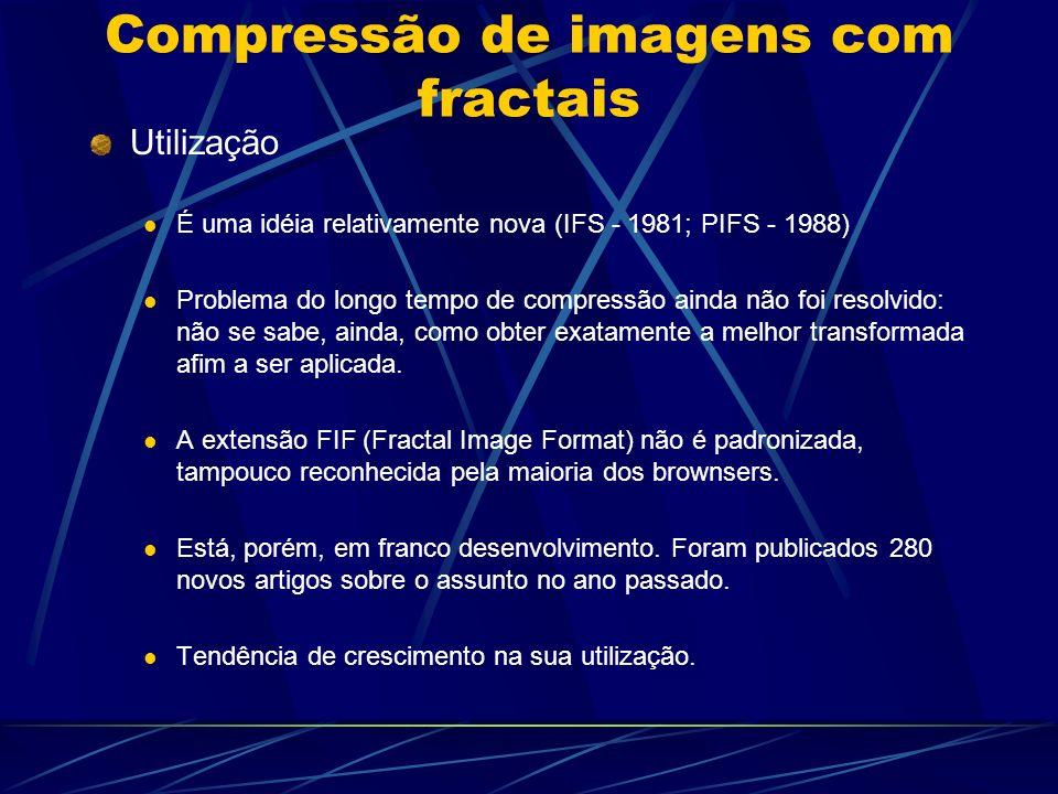 Compressão de imagens com fractais Utilização É uma idéia relativamente nova (IFS - 1981; PIFS - 1988) Problema do longo tempo de compressão ainda não
