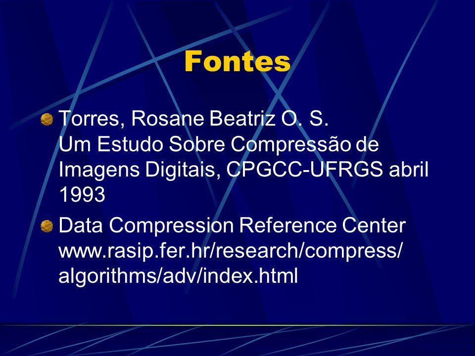 Fontes Torres, Rosane Beatriz O. S. Um Estudo Sobre Compressão de Imagens Digitais, CPGCC-UFRGS abril 1993 Data Compression Reference Center www.rasip