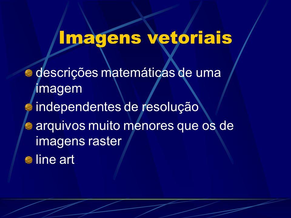 Imagens vetoriais descrições matemáticas de uma imagem independentes de resolução arquivos muito menores que os de imagens raster line art