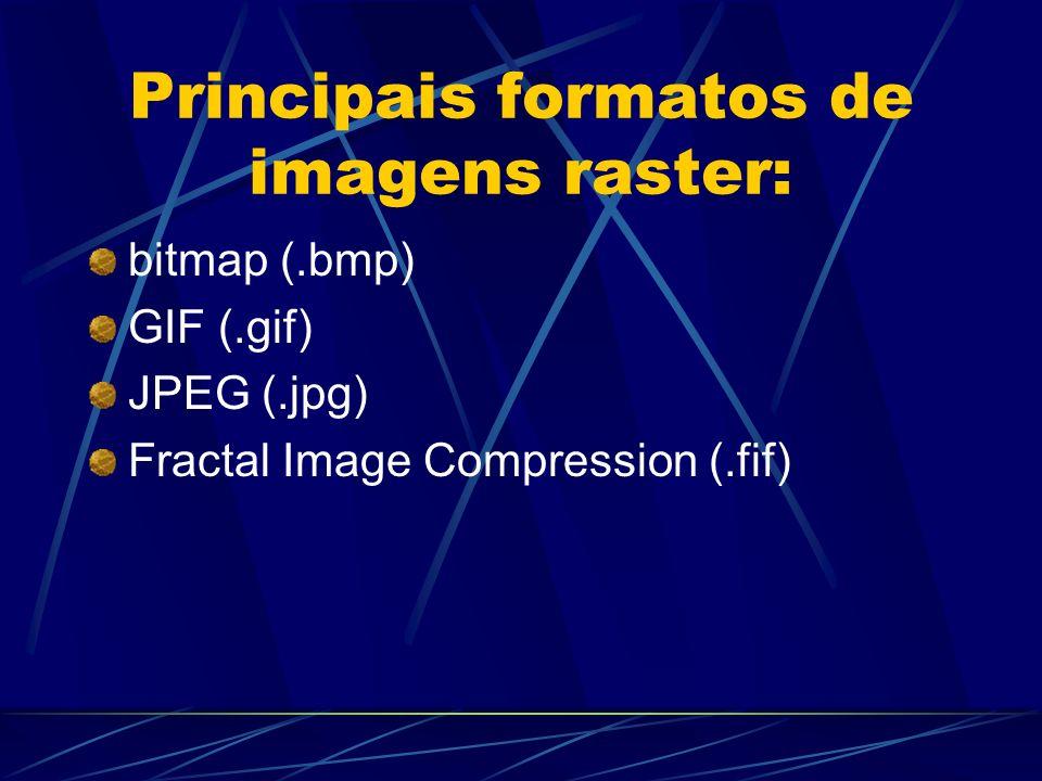 Principais formatos de imagens raster: bitmap (.bmp) GIF (.gif) JPEG (.jpg) Fractal Image Compression (.fif)