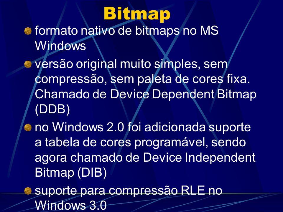 Bitmap formato nativo de bitmaps no MS Windows versão original muito simples, sem compressão, sem paleta de cores fixa. Chamado de Device Dependent Bi