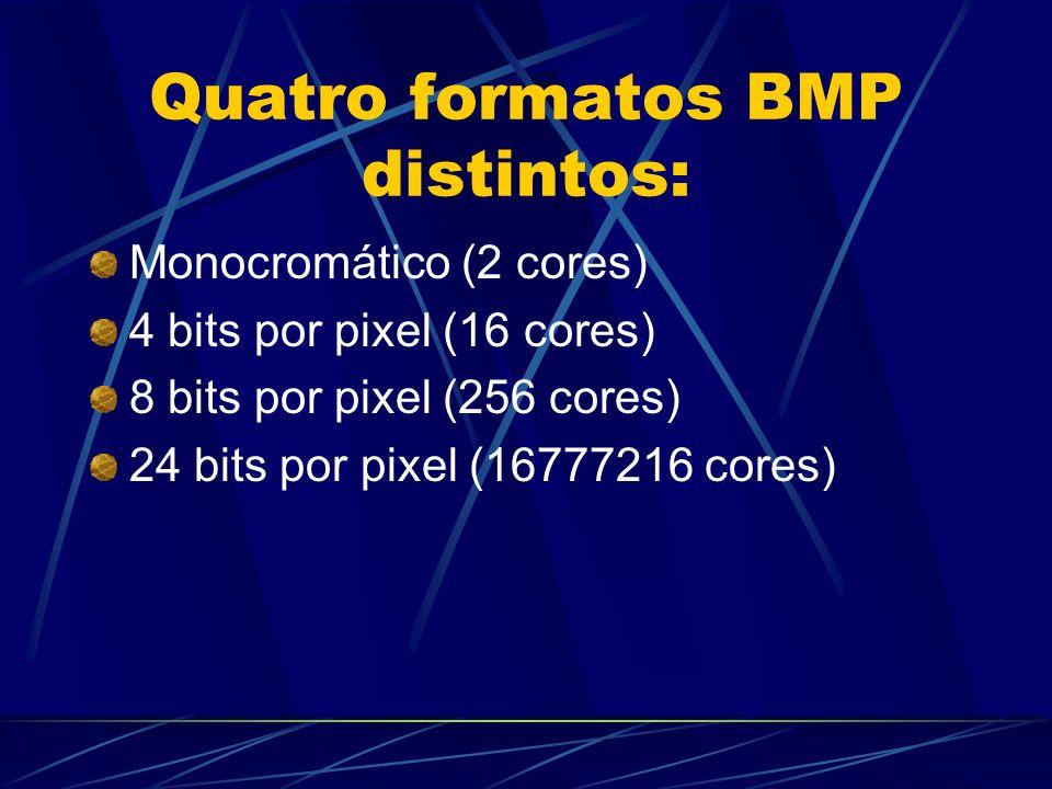 Quatro formatos BMP distintos: Monocromático (2 cores) 4 bits por pixel (16 cores) 8 bits por pixel (256 cores) 24 bits por pixel (16777216 cores)