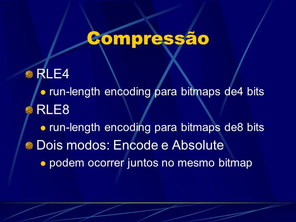 Compressão RLE4 run-length encoding para bitmaps de4 bits RLE8 run-length encoding para bitmaps de8 bits Dois modos: Encode e Absolute podem ocorrer j