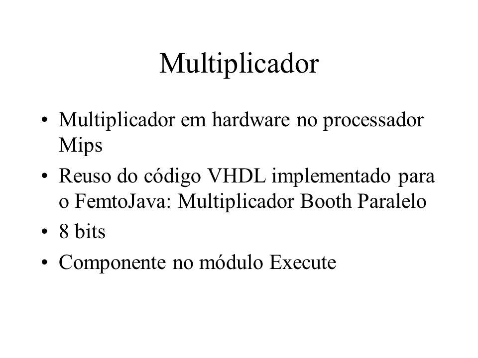 Multiplicador Multiplicador em hardware no processador Mips Reuso do código VHDL implementado para o FemtoJava: Multiplicador Booth Paralelo 8 bits Co