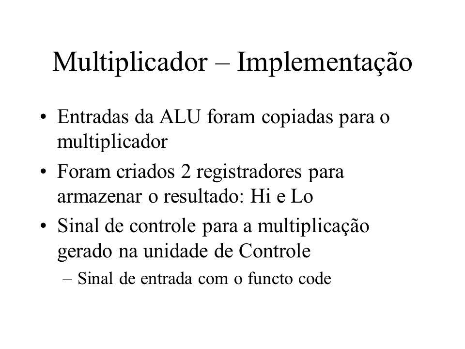 Multiplicador – Implementação Entradas da ALU foram copiadas para o multiplicador Foram criados 2 registradores para armazenar o resultado: Hi e Lo Si