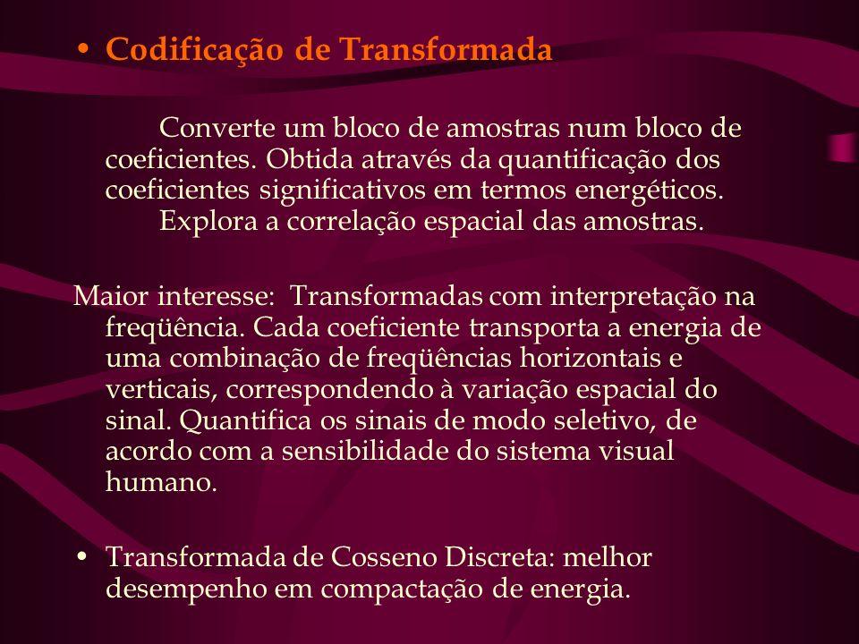 Codificação de Transformada Converte um bloco de amostras num bloco de coeficientes. Obtida através da quantificação dos coeficientes significativos e