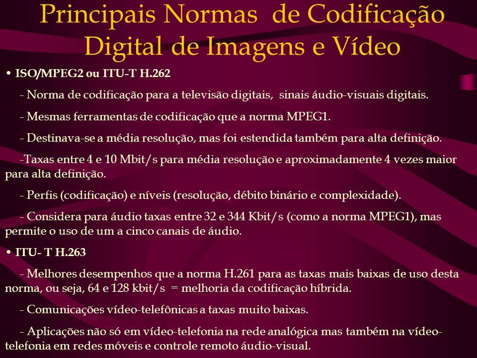 Principais Normas de Codificação Digital de Imagens e Vídeo ISO/MPEG2 ou ITU-T H.262 - Norma de codificação para a televisão digitais, sinais áudio-vi