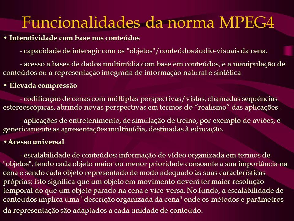 Funcionalidades da norma MPEG4 Interatividade com base nos conteúdos - capacidade de interagir com os