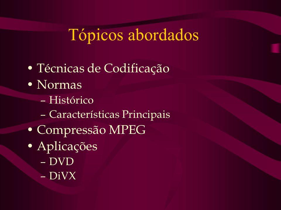 Tópicos abordados Técnicas de Codificação Normas –Histórico –Características Principais Compressão MPEG Aplicações –DVD –DiVX