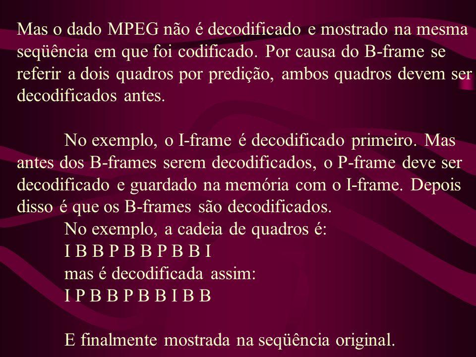 Mas o dado MPEG não é decodificado e mostrado na mesma seqüência em que foi codificado. Por causa do B-frame se referir a dois quadros por predição, a