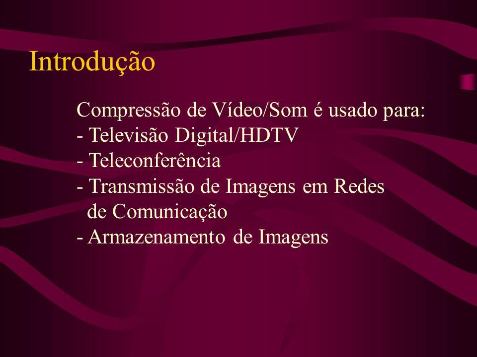 Introdução Compressão de Vídeo/Som é usado para: - Televisão Digital/HDTV - Teleconferência - Transmissão de Imagens em Redes de Comunicação - Armazen