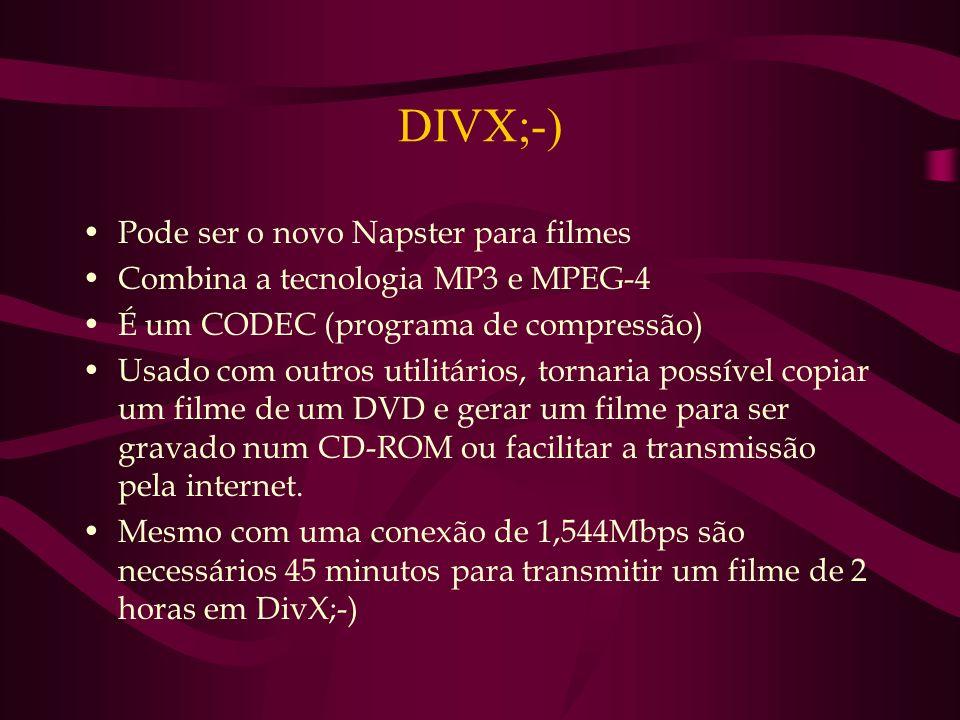 DIVX;-) Pode ser o novo Napster para filmes Combina a tecnologia MP3 e MPEG-4 É um CODEC (programa de compressão) Usado com outros utilitários, tornar