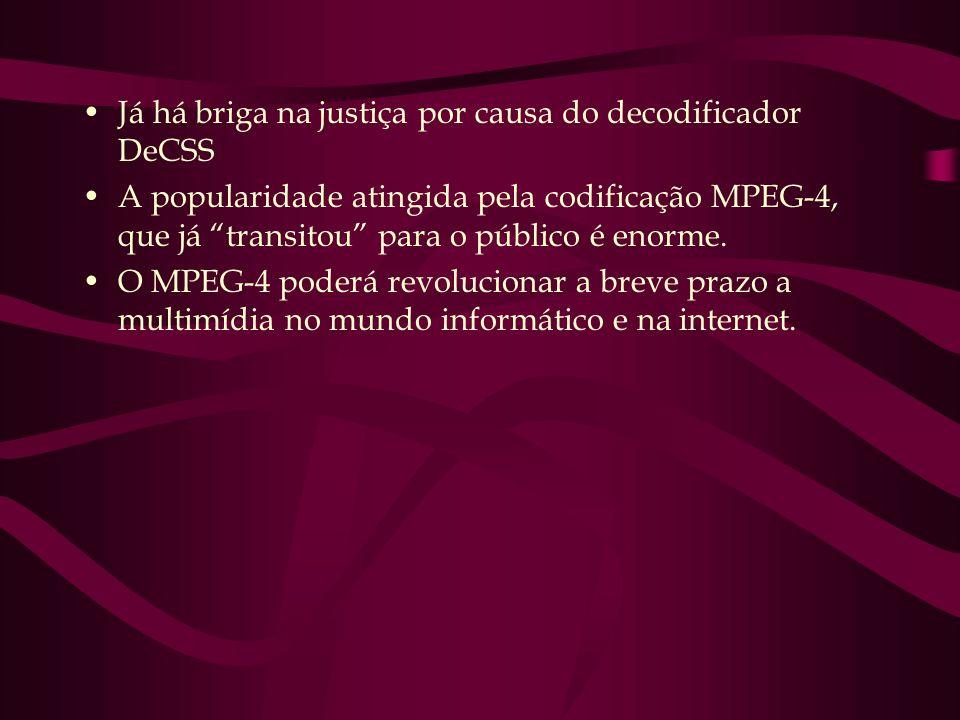 Já há briga na justiça por causa do decodificador DeCSS A popularidade atingida pela codificação MPEG-4, que já transitou para o público é enorme. O M