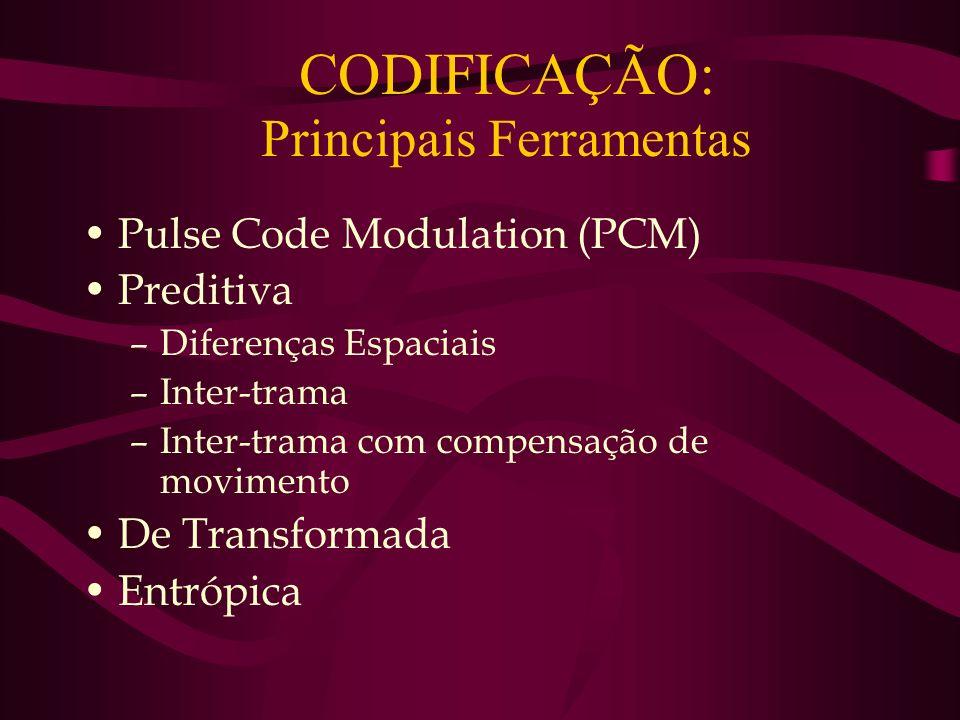 CODIFICAÇÃO: Principais Ferramentas Pulse Code Modulation (PCM) Preditiva –Diferenças Espaciais –Inter-trama –Inter-trama com compensação de movimento