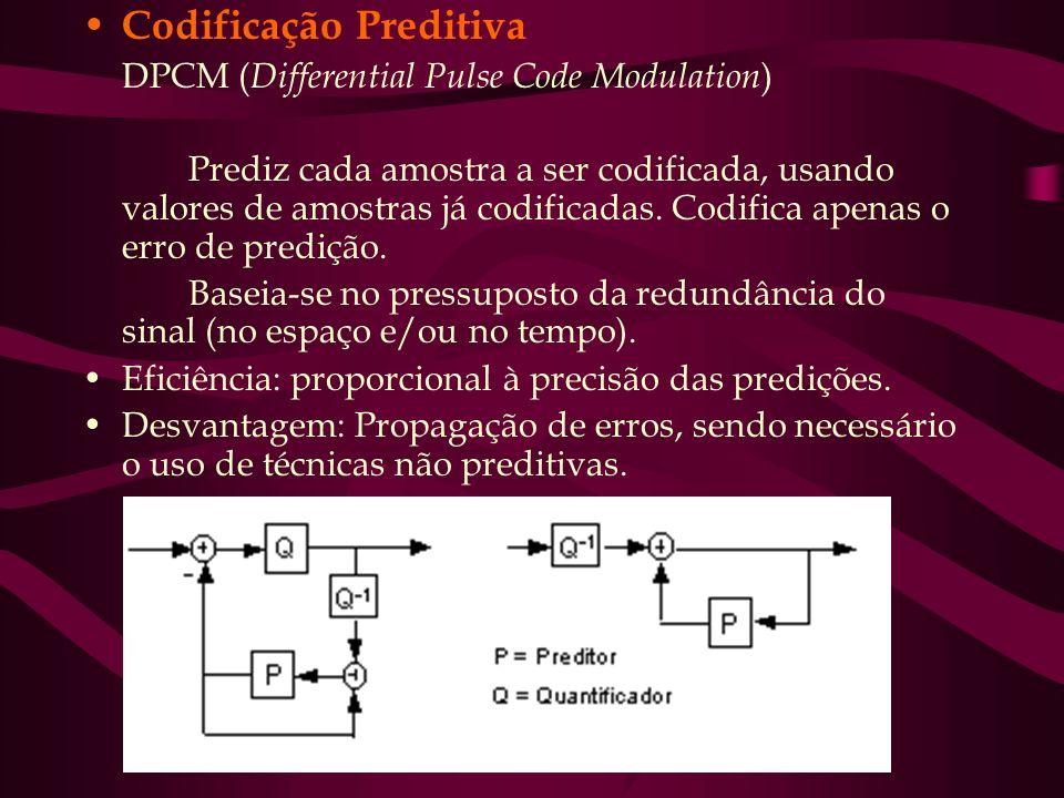 Codificação Preditiva DPCM ( Differential Pulse Code Modulation ) Prediz cada amostra a ser codificada, usando valores de amostras já codificadas. Cod