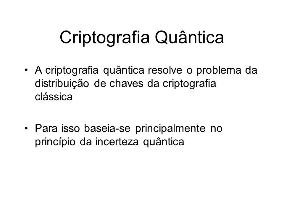 Criptografia Quântica A criptografia quântica resolve o problema da distribuição de chaves da criptografia clássica Para isso baseia-se principalmente