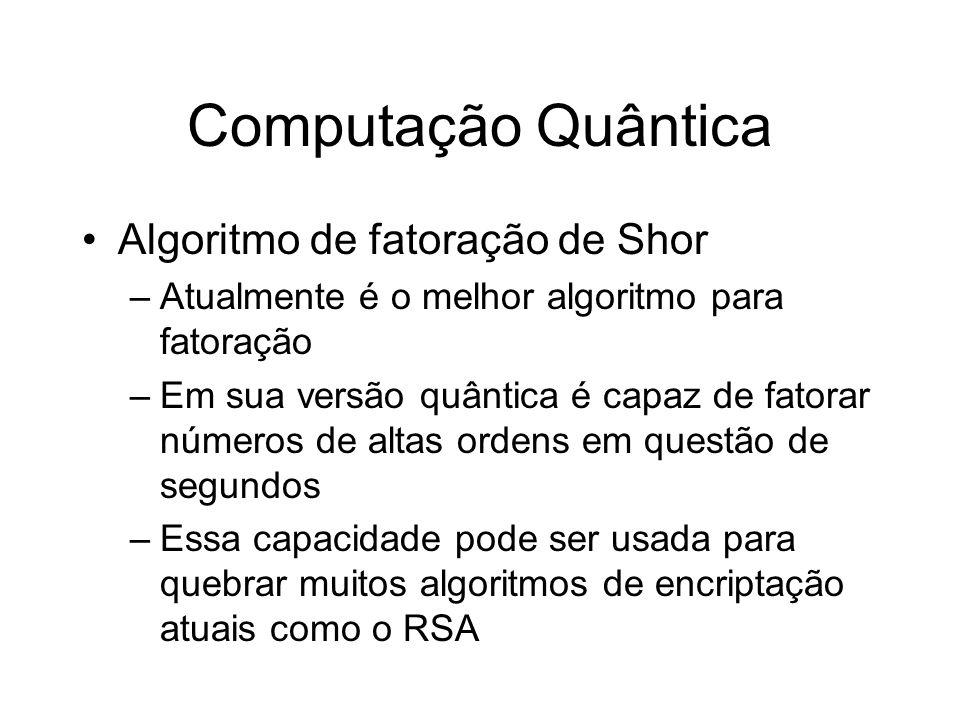 Computação Quântica Algoritmo de fatoração de Shor –Atualmente é o melhor algoritmo para fatoração –Em sua versão quântica é capaz de fatorar números