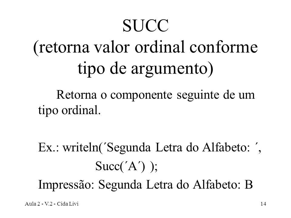 Aula 2 - V.2 - Cida Livi14 SUCC (retorna valor ordinal conforme tipo de argumento) Retorna o componente seguinte de um tipo ordinal. Ex.: writeln(´Seg