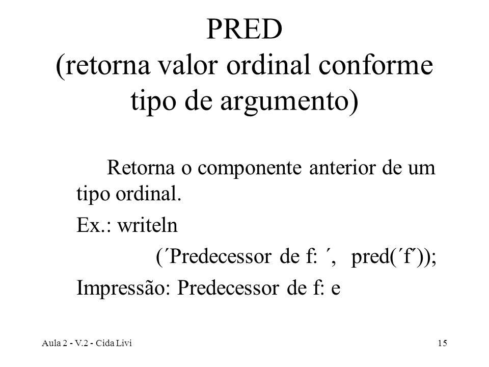 Aula 2 - V.2 - Cida Livi15 PRED (retorna valor ordinal conforme tipo de argumento) Retorna o componente anterior de um tipo ordinal. Ex.: writeln (´Pr